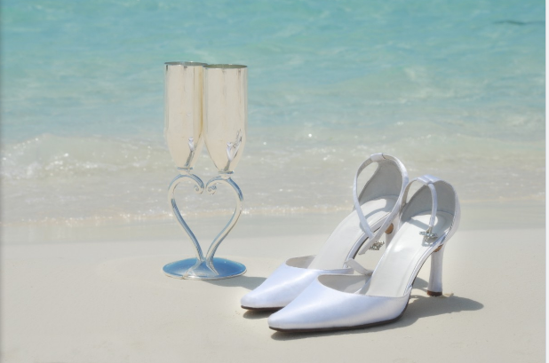 wedding shoes on beach