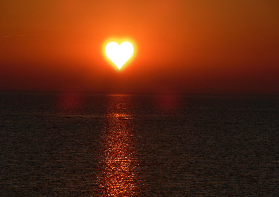 heart shaped sunset